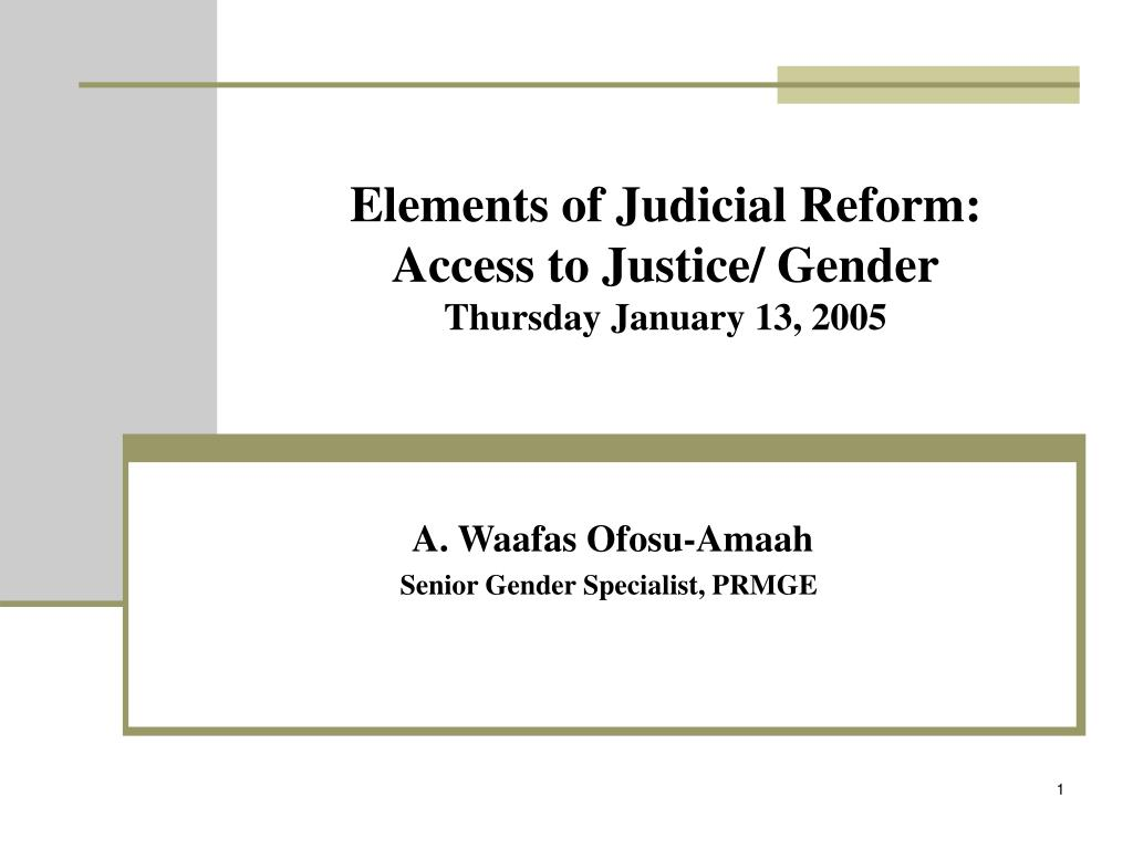elements of judicial reform access to justice gender thursday january 13 2005 l.