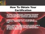 how to obtain your certification