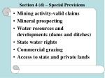 section 4 d special provisions55