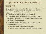 explanation for absence of civil society
