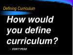 defining curriculum