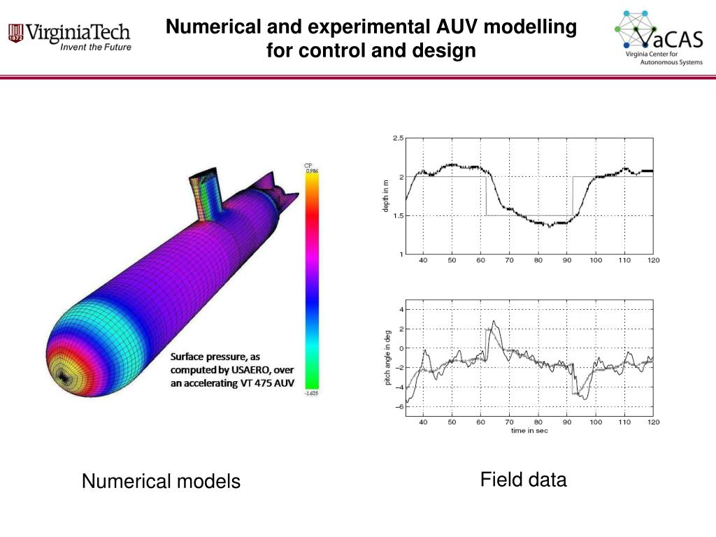 Numerical and experimental AUV modelling for control and design