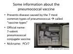 some information about the pneumococcal vaccine