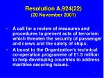 resolution a 924 22 20 november 2001