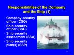 responsibilities of the company and the ship 1