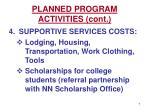 planned program activities cont