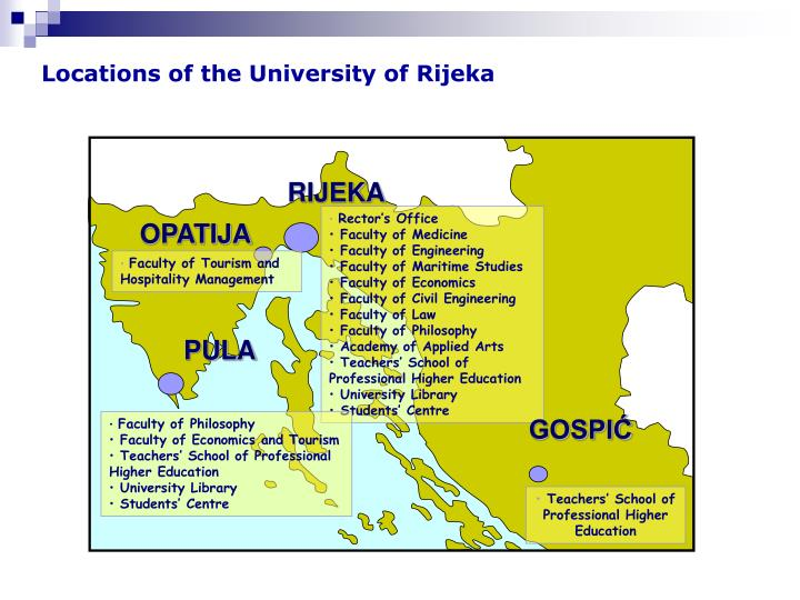 Locations of the university of rijeka