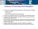 features of learning point navigator