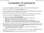 planning to navigate safety
