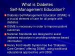 what is diabetes self management education