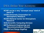 dya define your acronyms