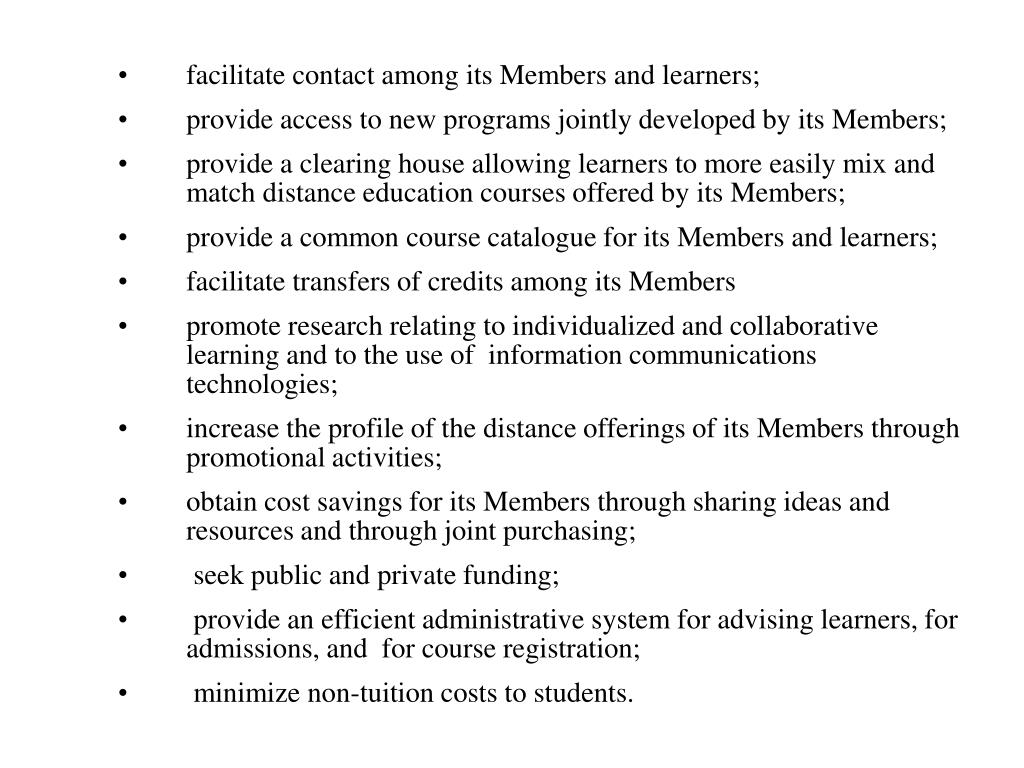 facilitate contact among its Members and learners;