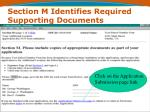 section m identifies required supporting documents