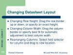 changing datasheet layout