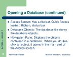 opening a database continued