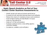applying speech analytics