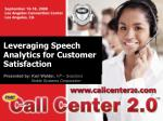 leveraging speech analytics for customer satisfaction