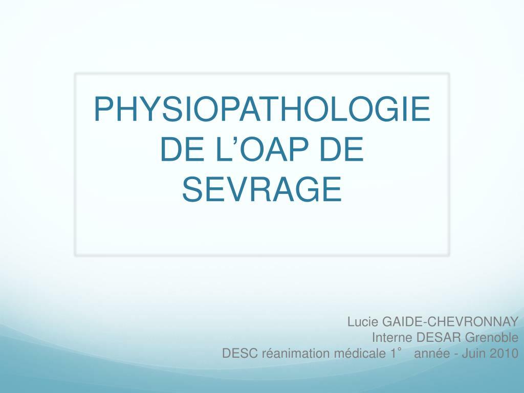 physiopathologie de l oap de sevrage l.