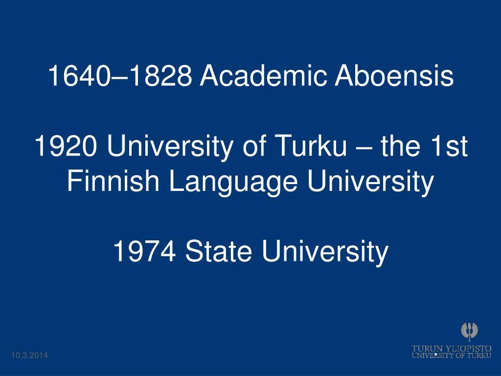 1640–1828 Academic Aboensis
