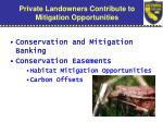 private landowners contribute to mitigation opportunities