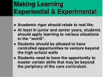 making learning experiential experimental