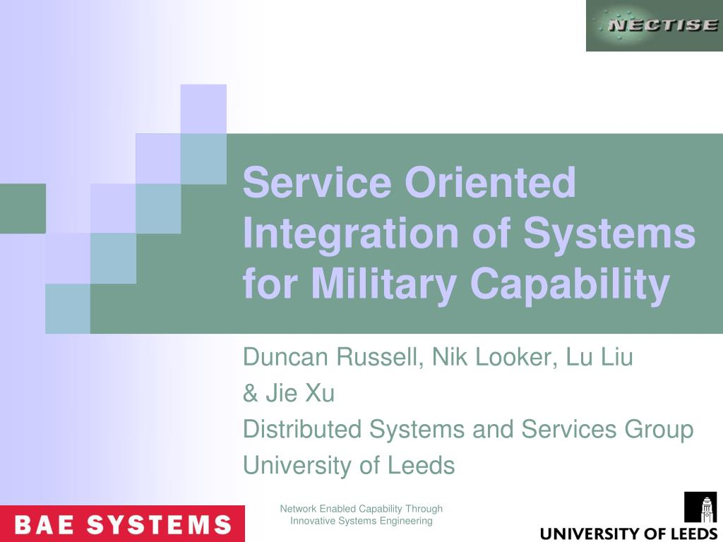 service oriented integration of systems for military capability l.