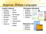 materials multiple languages