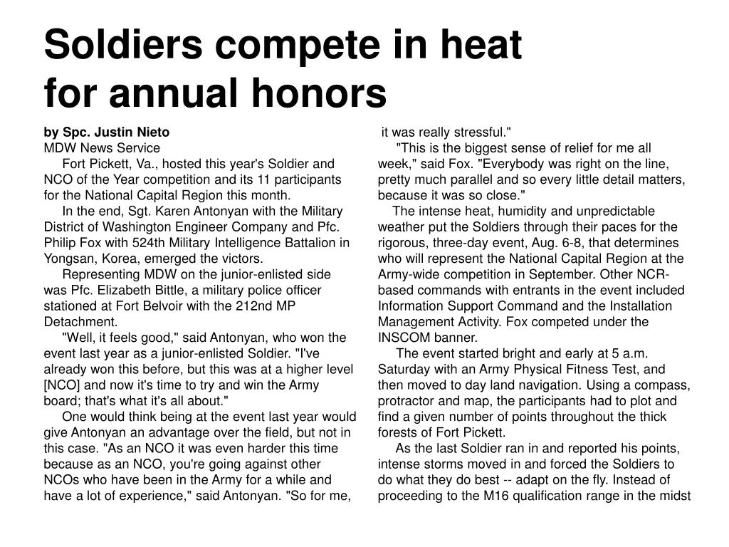 soldiers compete in heat for annual honors l.