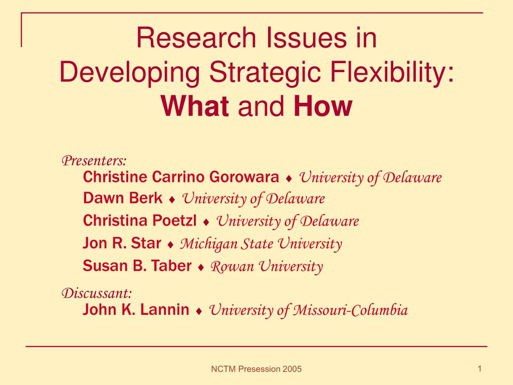 research issues in developing strategic flexibility what and how l.