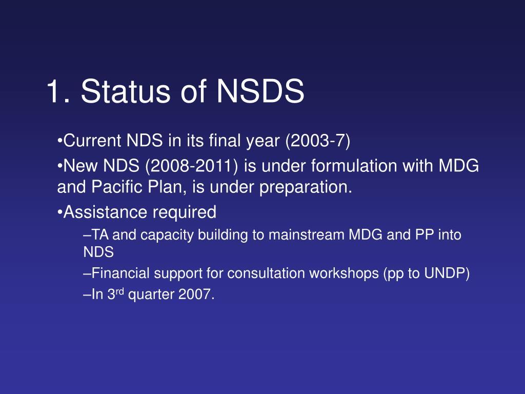 1 status of nsds l.