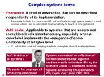complex systems terms