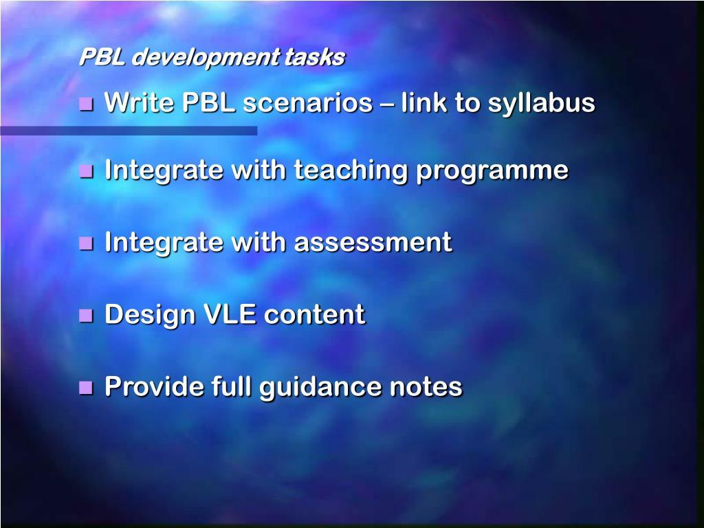 PBL development tasks