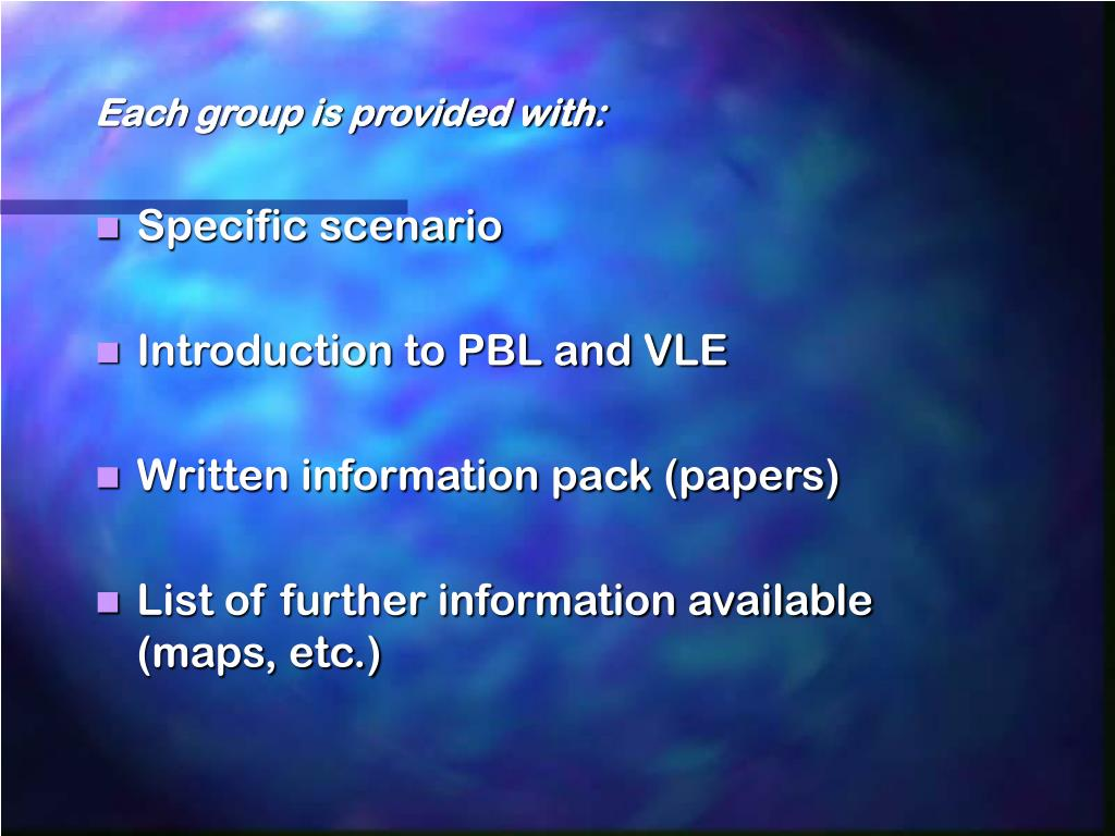 Each group is provided with: