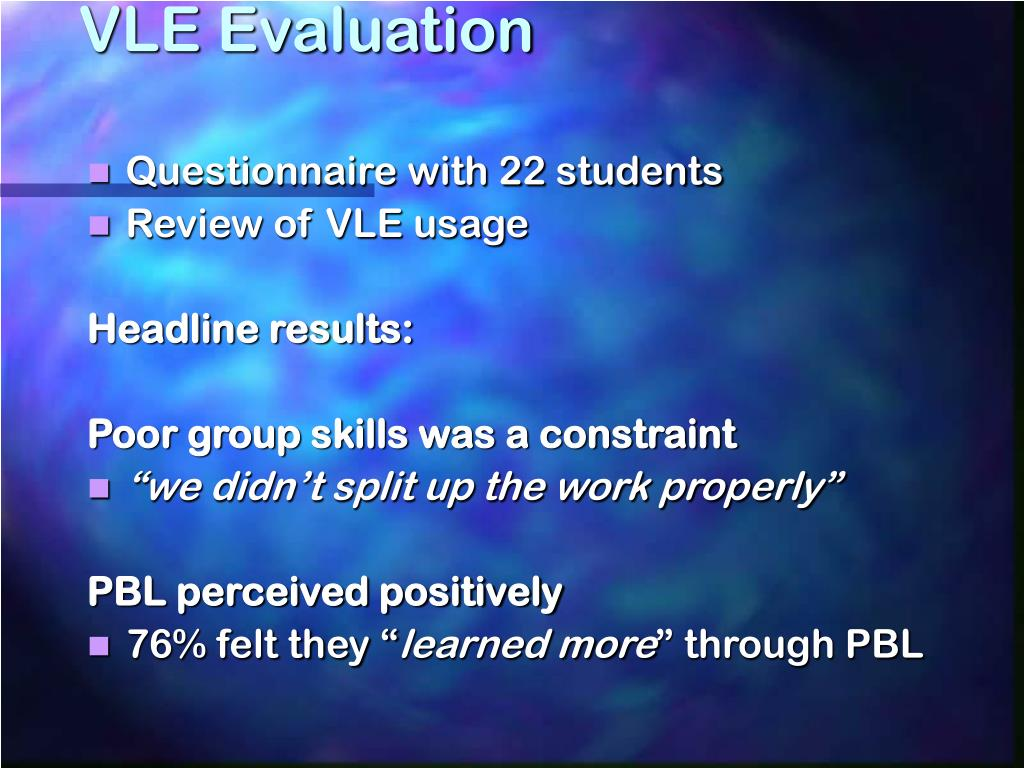 VLE Evaluation