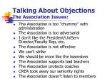 talking about objections the association issues