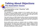 talking about objections the association issues1