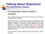 talking about objections the association issues10