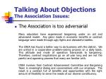 talking about objections the association issues2