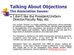 talking about objections the association issues3