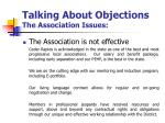 talking about objections the association issues4