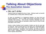 talking about objections the association issues5