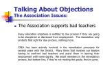 talking about objections the association issues7