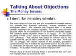 talking about objections the money issues5