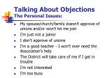 talking about objections the personal issues