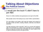 talking about objections the political issues4