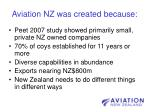 aviation nz was created because