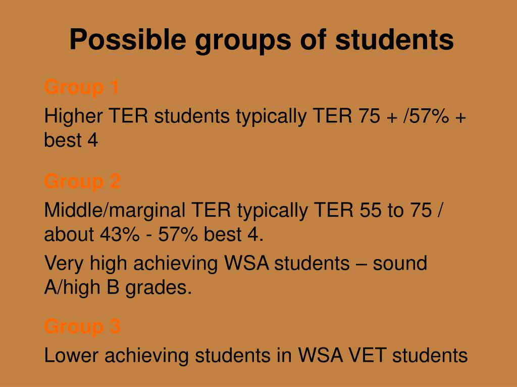 Possible groups of students