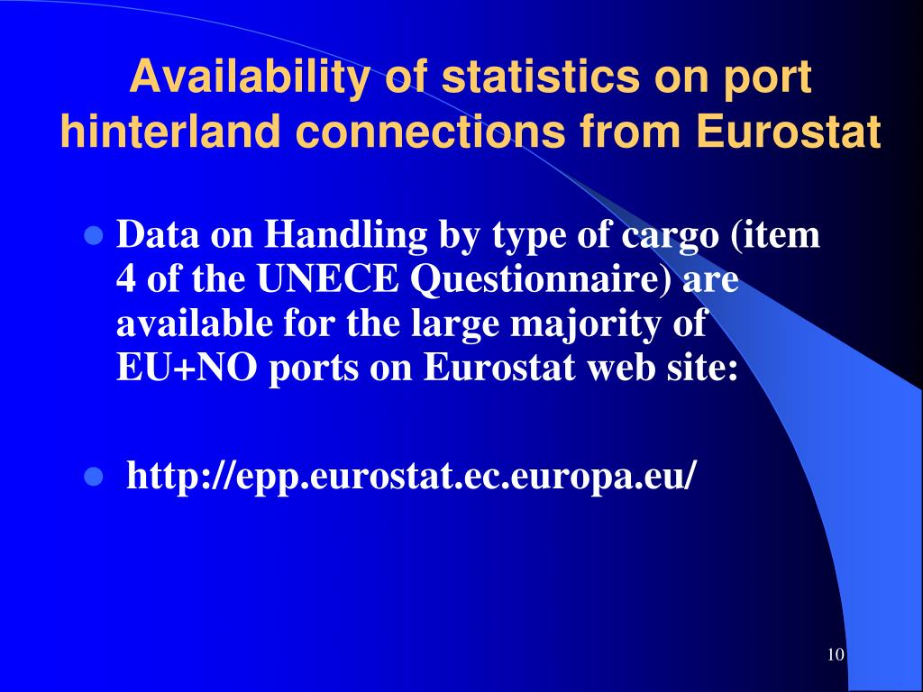 Availability of statistics on port hinterland connections from Eurostat
