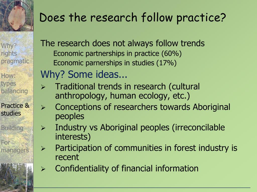 Does the research follow practice?