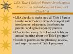 lea title i school parent involvement policy and school parent compact checklist
